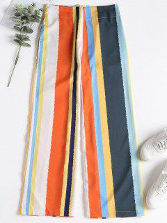Back Zipper Striped Wide Leg Pants - Multi M