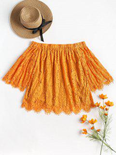 Off The Shoulder Scalloped Lace Blouse - Cantaloupe Xl