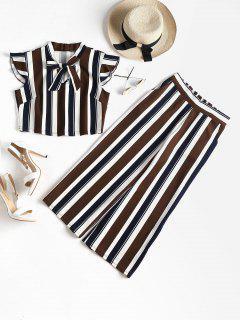 Striped Bowtie Pants Set - Deep Brown S