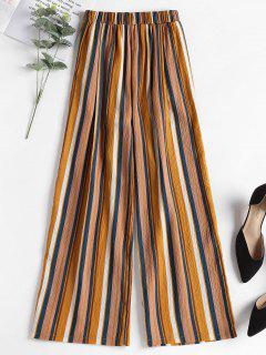 Contrast Striped Wide Leg Pants - Yellow M