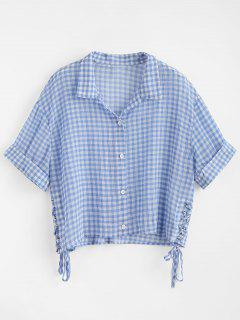 Sheer Gingham Cropped Shirt - Blue M