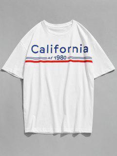 Camiseta Estampada De Manga Corta California Letter - Blanco M