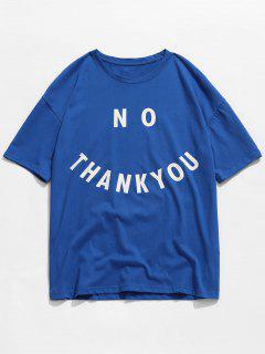 Lettre T-shirt Imprimé Couleur Unie - Bleu Xl
