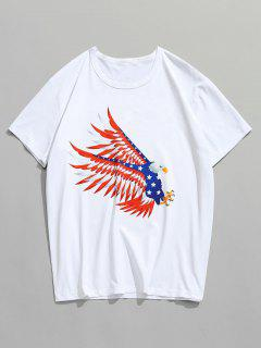 American Flying Eagle Printed T-shirt - White M