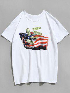 American Flag Hand Dollars Bedrucktes T-Shirt - Weiß M