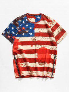 3D American Flag Side Reißverschluss T-Shirt - Rot M