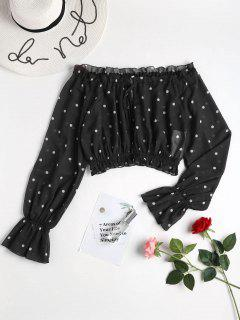 Off Shoulder Polka Dot Blouse - Black M