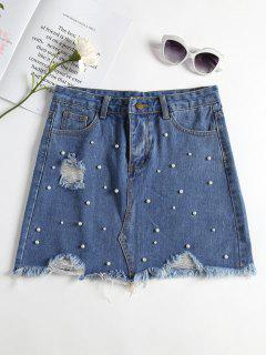 Faux Pearl Distressed Denim Skirt - Jeans Blue S