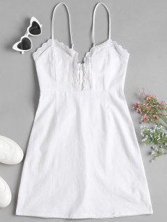 Vestido A Media Pierna Con Borde En Encaje De Línea - Blanco L