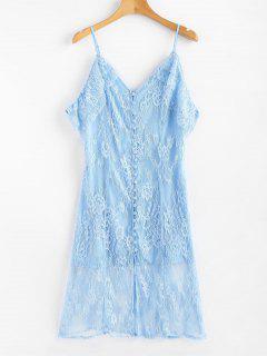 Kalte Schulter Knopf Vorder Spitze Kleid - Himmelblau M