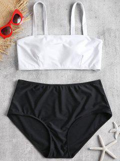 Gepolsterter Plus Größer Hoch Taillierter Bikini-Set - Schwarz 2x