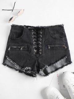 Lace Up Frayed Denim Shorts - Gray L