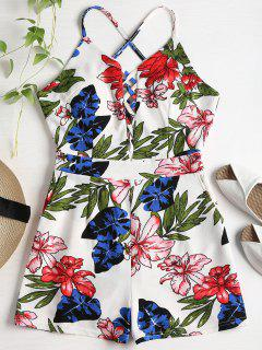 Floral Print Criss Cross Romper - Multi S