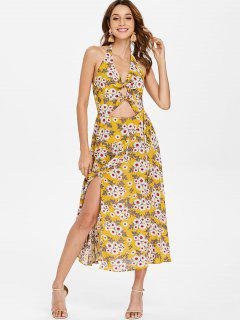 Backless Floral Knot Slit Swing Dress - Golden Brown S