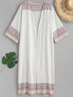 Printed Open Front Maxi Kimono - White