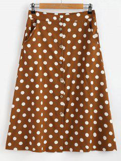 Button Through Polka Dot Midi Skirt - Coffee M