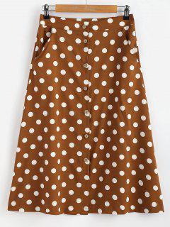 Button Through Polka Dot Midi Skirt - Coffee S