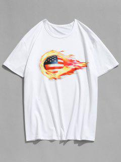 3D American Flag Football Printed T-shirt - White L
