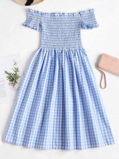 Off Shoulder Checkered Smocked Dress - Day Sky Blue L