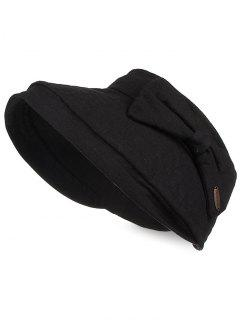 Anti UV Bowknot Open Top Foldable Summer Hat - Black