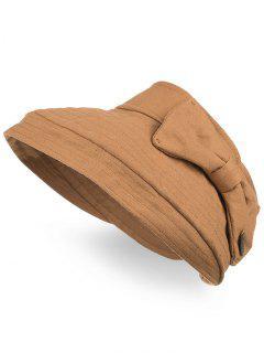 Chapeau D'été Pliable Ouvert Anti-UV Bowknot - Jaune Feuille D'automne