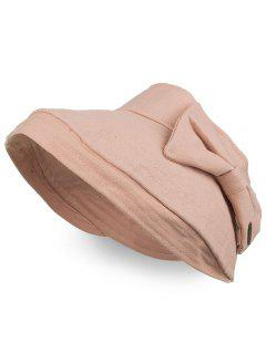 Anti UV Bowknot Open Top Foldable Summer Hat - Pink