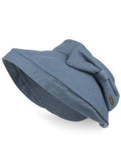 Anti UV Bowknot Open Top Foldable Summer Hat - Blue Gray