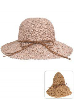 Anti UV Bowknot Hand Knitting Straw Sun Hat - Khaki Rose