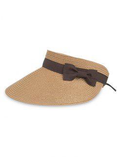 UV Protection Bowknot Open Top Beach Hat - Cinnamon