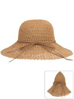 Anti UV Bowknot Foldable Straw Sun Hat - Cinnamon