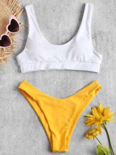 Scoop Zweifarbiges Hohes Bein Bikini - Helles Gelb L