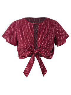 Plus Size Bowknot Dots Crop Top - Red Wine L