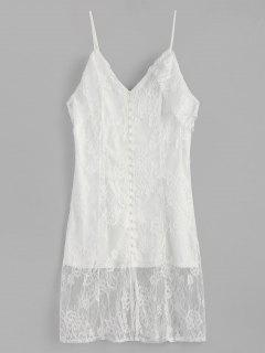 Cold Shoulder Covered Buttons Lace Dress - White L
