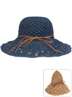 Anti UV Bowknot Hand Knitting Straw Sun Hat - Cadetblue