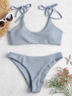 Tie Shoulders Ribbed Bikini Set - Jeans Blue L