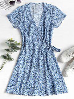 ZAFUL Knotted Floral Wrap Dress - Cornflower Blue L