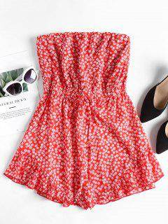 Ruffles Floral Strapless Romper - Fire Engine Red S