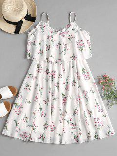 Overlay Floral Cami Flowing Dress - White M
