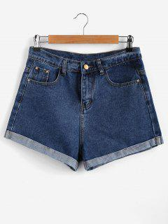 Roll Up High Waisted Denim Shorts - Blue L