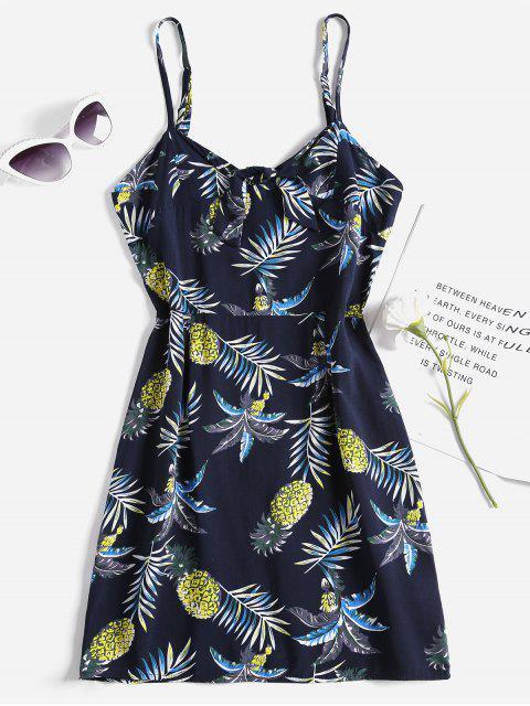 Vestido anudado de la piña de la piña - Azul de Medianoche XL Mobile