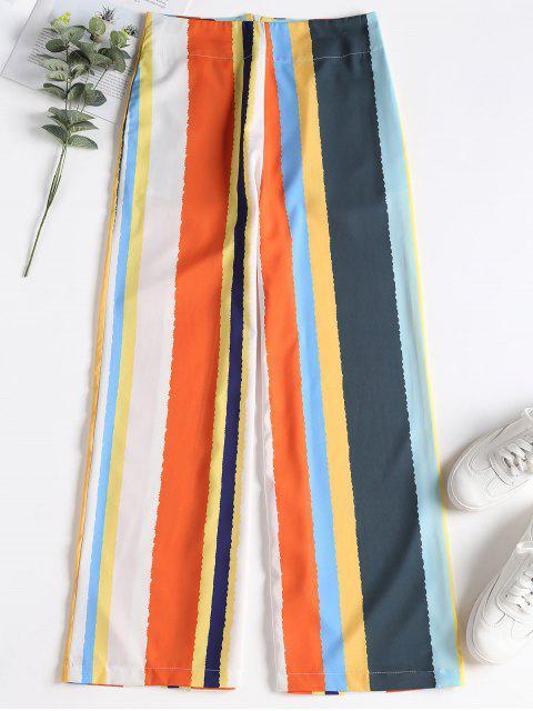 Pantalon à Rayures avec Jambes Larges et Fermeture Glissière à L'arrière - Multi S Mobile