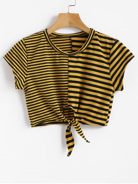 affordable Stripe Knot Crop Tee - SUN YELLOW S Mobile
