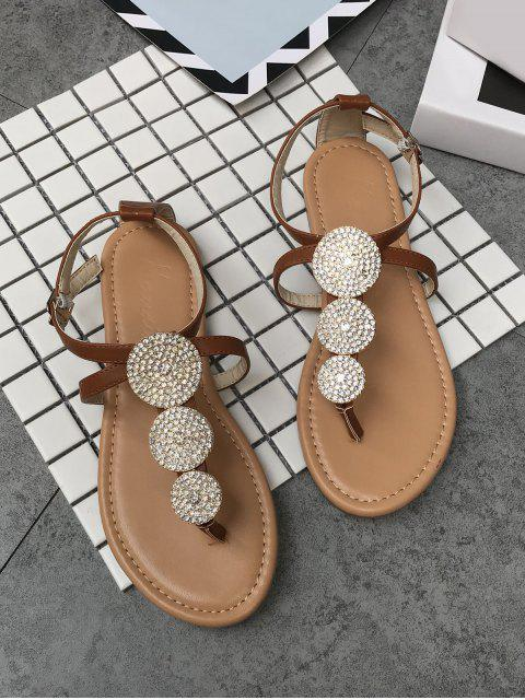 sale Crisscross Crystal T Strap Chic Thong Sandals - LIGHT BROWN 40 Mobile