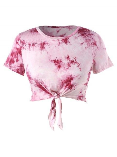 Plus Größes Crop Riemchen Färbung Knoten Tee - Helles Rosa 2X Mobile