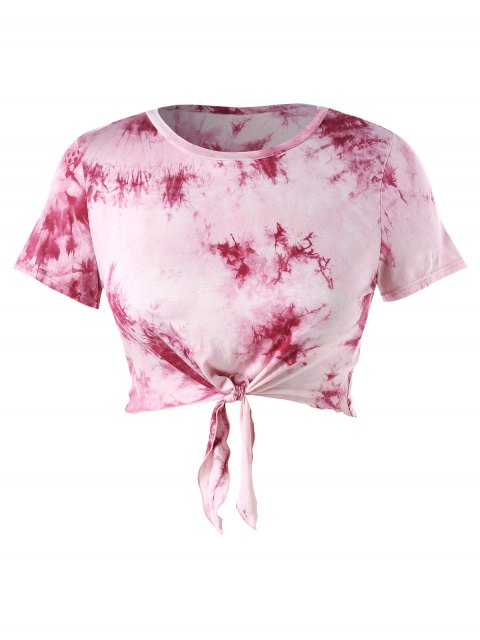 fancy Plus Size Crop Tie Dye Knot Tee - LIGHT PINK 4X Mobile