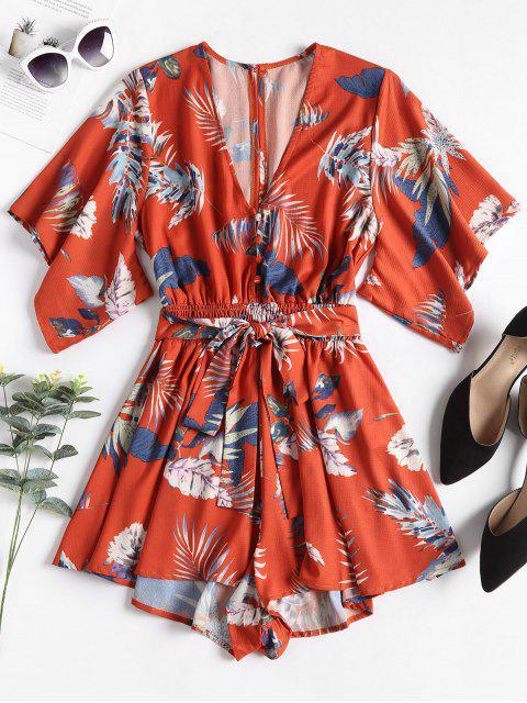 Barboteuse en Kimono à Taille Froncée et Imprimé Tropical - Orange vif L Mobile