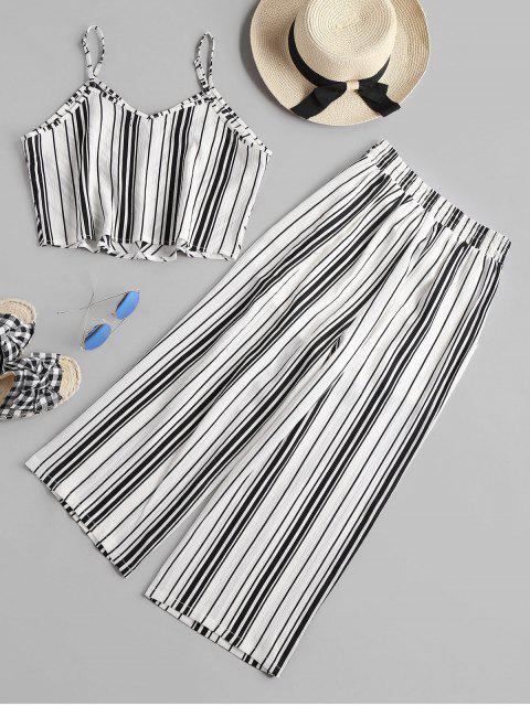 ladies High Waist Striped Pants Set - WHITE M Mobile