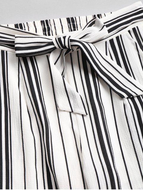 lady High Waist Striped Pants Set - WHITE L Mobile