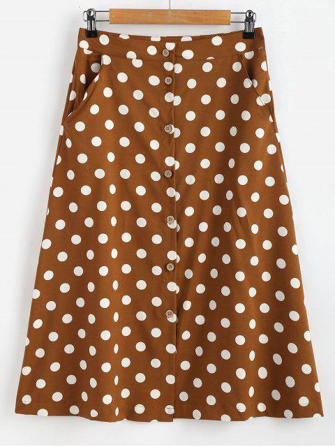 lady Button Through Polka Dot Midi Skirt - COFFEE L Mobile