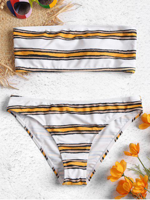women's Horizontal Stripe Bandeau Bikini Set - BEE YELLOW M Mobile